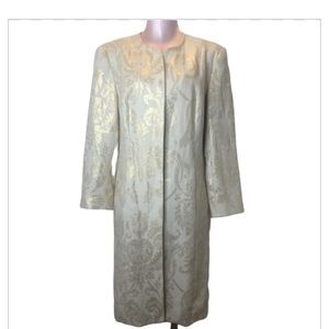 J McLaughlin Linen Gold Jacquard Long Duster Coat